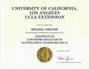 certificate of an alcohol and drug counselor certified alcohol